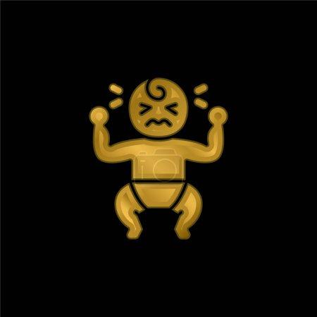 Illustration pour Bébé pleurer plaqué or icône métallique ou logo vecteur - image libre de droit