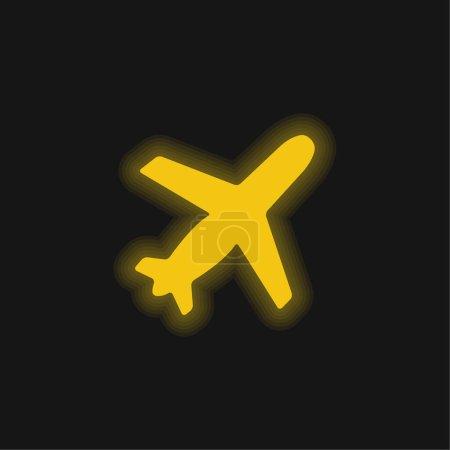 Photo pour Avion Forme noire Ascendant Rotation à droite jaune brillant icône néon - image libre de droit