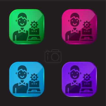 Illustration pour Admin quatre icône de bouton en verre de couleur - image libre de droit