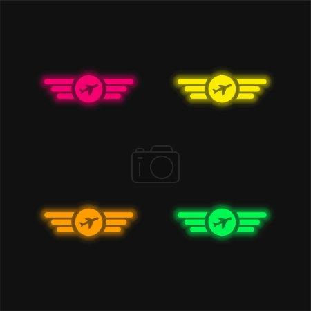 Air Company Logo quatre couleurs brillant icône vectorielle néon