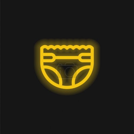 Baby Diaper yellow glowing neon icon