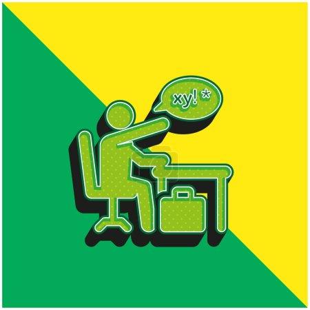 Verde enojado y amarillo moderno vector 3d icono logotipo