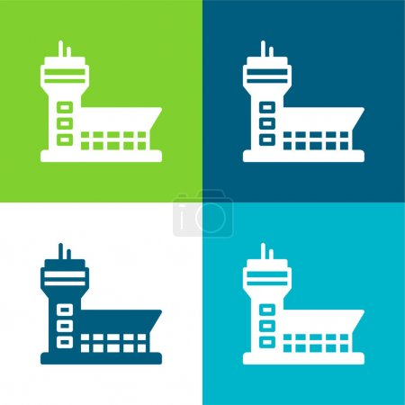 Airport Flat four color minimal icon set