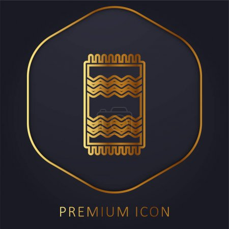 Beach Towel golden line premium logo or icon