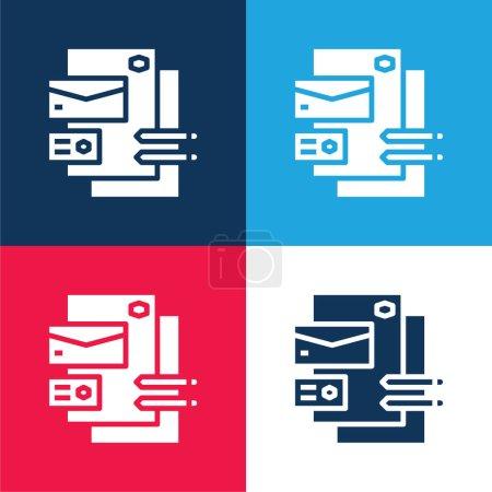 Illustration pour Image de marque bleu et rouge quatre couleurs minimum jeu d'icônes - image libre de droit