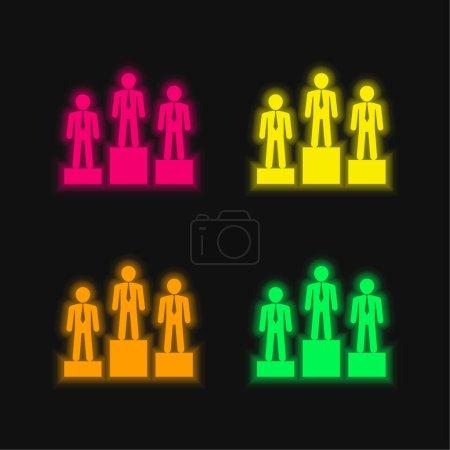 Illustration pour Meilleure équipe d'homme d'affaires de trois quatre couleurs brillant icône vectorielle néon - image libre de droit