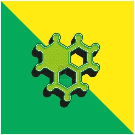 Photo pour Bactéries Logo vectoriel 3D moderne vert et jaune - image libre de droit
