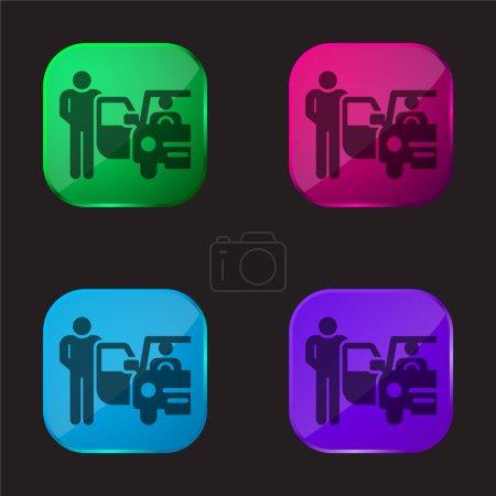 Illustration pour Bellboy icône de bouton en verre quatre couleurs - image libre de droit