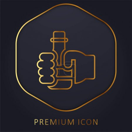 Illustration pour Bière ligne d'or logo premium ou icône - image libre de droit