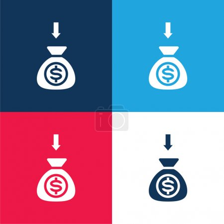 Arrows blue and red four color minimal icon set