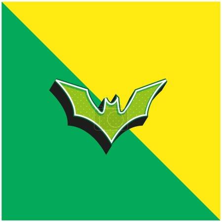 Illustration pour Chauve-souris avec ailes surélevées Logo vectoriel 3D moderne vert et jaune - image libre de droit