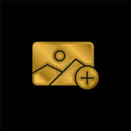 Añadir chapado en oro icono metálico o vector de logotipo