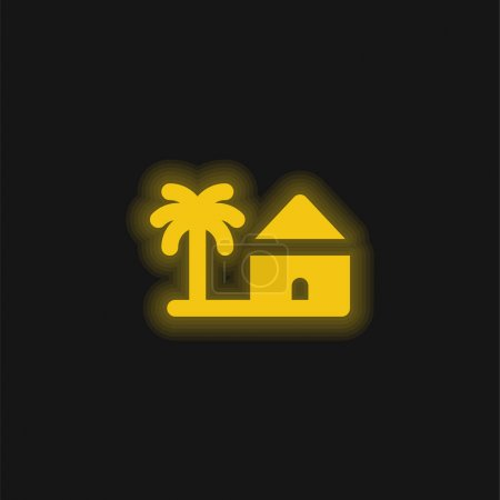 Illustration for Beach yellow glowing neon icon - Royalty Free Image