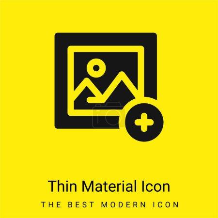Illustration pour Ajouter Image minime jaune vif icône matérielle - image libre de droit