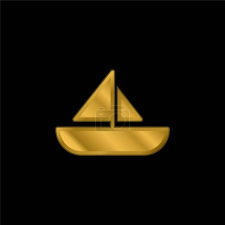 Boat gold plated metalic icon or logo vector