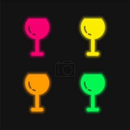 Illustration pour Grand verre à vin quatre couleurs brillant icône vectorielle néon - image libre de droit