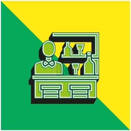 Illustration pour Bar Logo vectoriel 3d moderne vert et jaune - image libre de droit