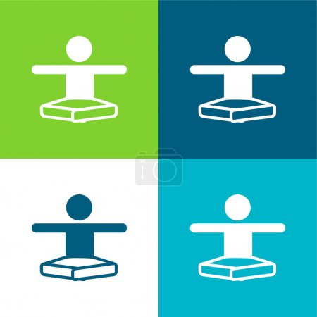 Boy In Lotus Position Stretching Arms Flat four color minimal icon set