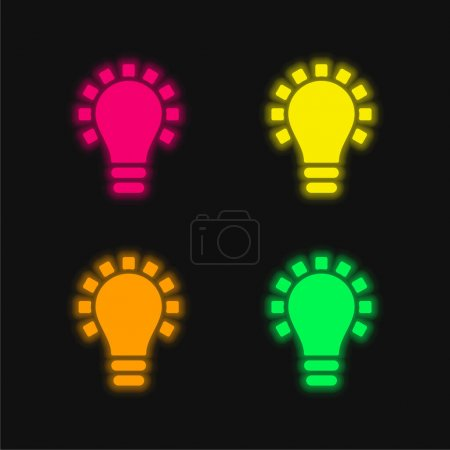 Illustration for Black Lightbulb Symbol four color glowing neon vector icon - Royalty Free Image