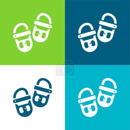 Illustration pour Chaussures de bébé Ensemble d'icônes minimal plat quatre couleurs - image libre de droit