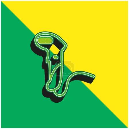 Illustration pour Scanner de code à barres Logo vectoriel 3d moderne vert et jaune - image libre de droit