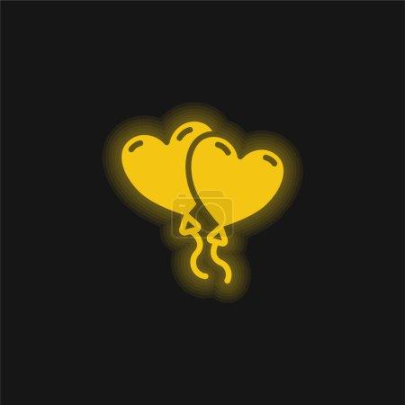 Balloons yellow glowing neon icon