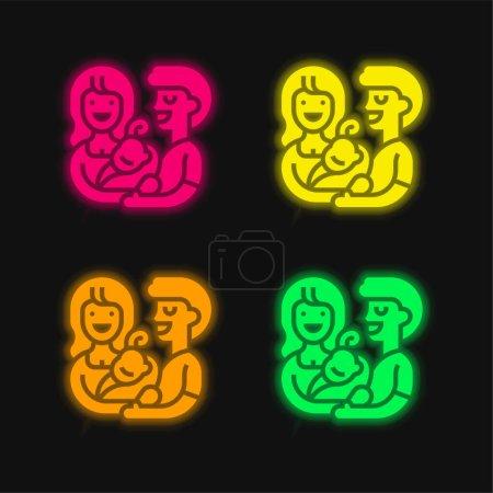 Annahme leuchtender Neon-Vektorsymbole in vier Farben
