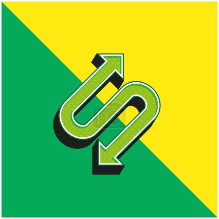 Illustration pour Flèche avec deux points en forme de S vert et jaune moderne logo icône vectorielle 3d - image libre de droit