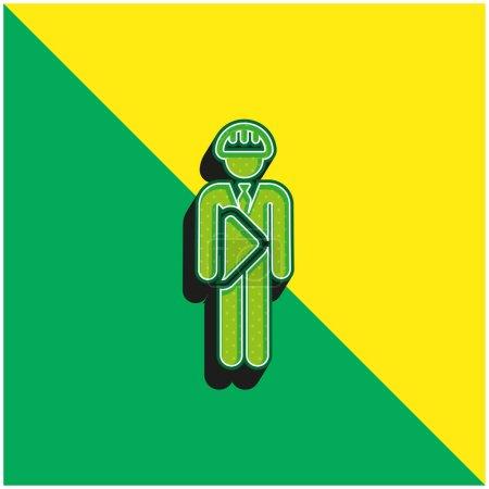 Illustration pour Architecte Logo vectoriel 3D moderne vert et jaune - image libre de droit