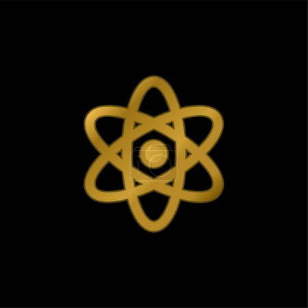 Atom gold plated metalic icon or logo vector