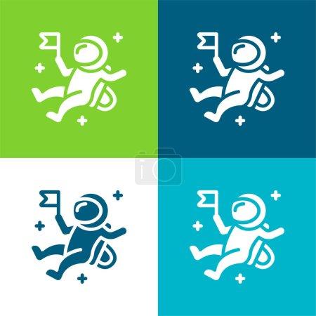 Photo pour Ensemble d'icônes minime quatre couleurs plat astronaute - image libre de droit