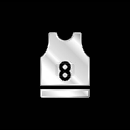 Basketball Jersey silver plated metallic icon
