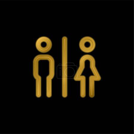 Illustration pour Salle de bain plaqué or icône métallique ou logo vecteur - image libre de droit