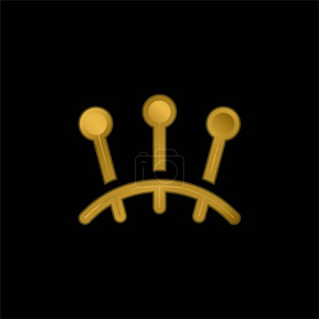 Acupuncture gold plated metalic icon or logo vector