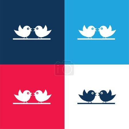 Photo pour Ensemble d'icônes minimum quatre couleurs bleu et rouge - image libre de droit