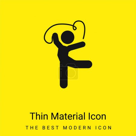 Illustration for Artistic Gymnast Posture With Ribbon minimal bright yellow material icon - Royalty Free Image