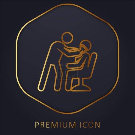 Illustration pour Barber ligne d'or logo premium ou icône - image libre de droit