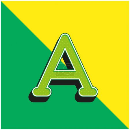 Alpha Green and yellow modern 3d vector icon logo