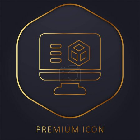 Photo for 3d Printing Software golden line premium logo or icon - Royalty Free Image