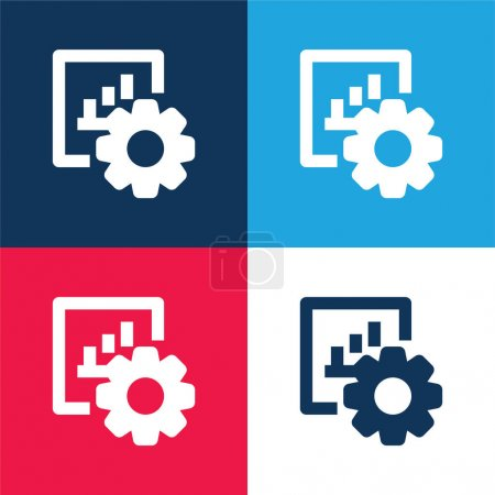 Illustration for Bar Graph blue and red four color minimal icon set - Royalty Free Image