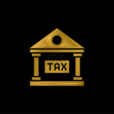 Illustration for Bank gold plated metalic icon or logo vector - Royalty Free Image