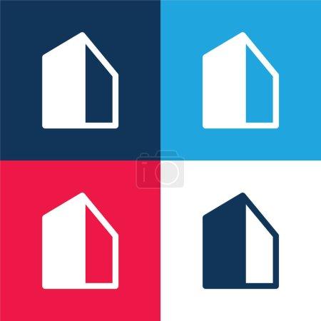 Photo pour Ensemble d'icônes minime Big Building bleu et rouge quatre couleurs - image libre de droit
