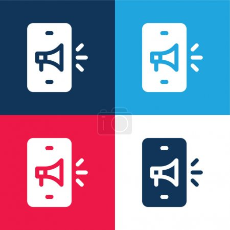 Advertising blue and red four color minimal icon set