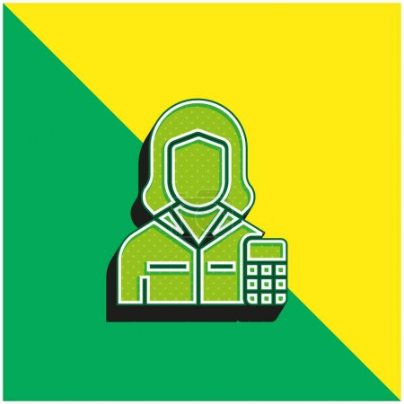 Accountant Green and yellow modern 3d vector icon logo