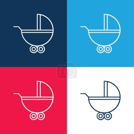 Illustration pour Porte-bébé avec roues bleu et rouge ensemble d'icônes minimales quatre couleurs - image libre de droit