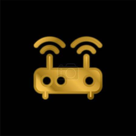 Antenne vergoldet metallisches Symbol oder Logo-Vektor