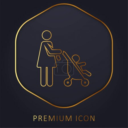Photo for Baby Stroller golden line premium logo or icon - Royalty Free Image