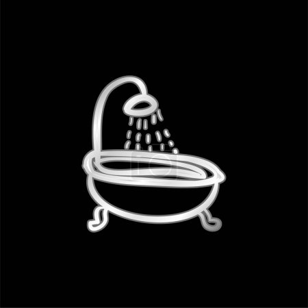 Bathtub Vintage Shower silver plated metallic icon