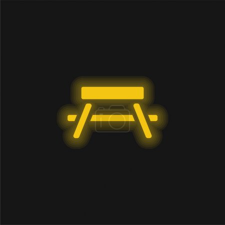 Illustration for Bench yellow glowing neon icon - Royalty Free Image