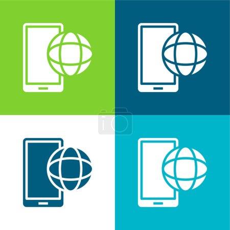 Illustration pour App Flat quatre couleurs minimum jeu d'icônes - image libre de droit